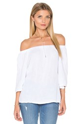 Michael Stars Double Gauze Off Shoulder Top White