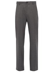 Versace Pinstriped Tailored Wool Trousers Grey