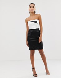 Morgan Bandeau Pencil Dress In Monochrome Multi