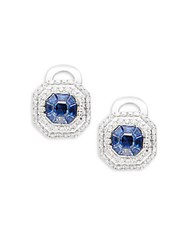 Effy Diamond Sapphire And 14K White Gold Stud Earrings