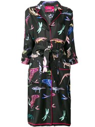 F.R.S For Restless Sleepers Belted Patterned Coat Black