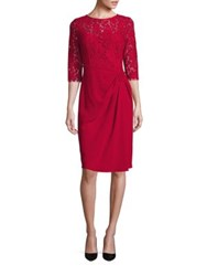 Rickie Freeman For Teri Jon Crepe And Lace Sheath Dress Red