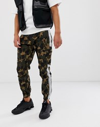 Sik Silk Siksilk Cargo Pants In Camo With Side Stripe Green