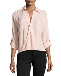Hilda B. 3 4 Sleeve Cross Front Blouse Blush