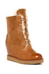 Australia Luxe Collective Brogue Hidden Wedge Genuine Shearling And Genuine Leather Boot Gray