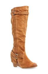 Naughty Monkey 'S Naugty Double Up Knee High Wedge Boot Tan Suede