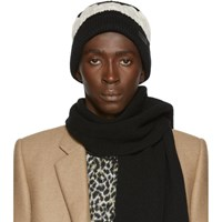 Saint Laurent Black And Off White Big Twisted Knit Beanie