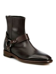 Frye Wright Harness Leather Boots Dark Brown