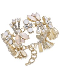 Inc International Concepts Gold Tone Crystal Pink Stone And Imitation Pearl Bracelet Created For Macy's
