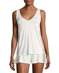 Cosabella Bacall Two Tone Lace Inset Lounge Camisole Ivory