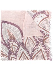 Hemisphere Floral Print Fringed Hem Scarf Pink And Purple