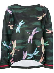 F.R.S For Restless Sleepers Dragonfly Print Blouse Green