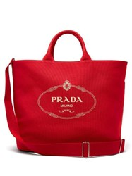 Prada Logo Cotton Canvas Tote Red
