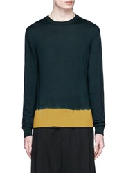 Lanvin Tie Dye Effect Merino Wool Sweater Green