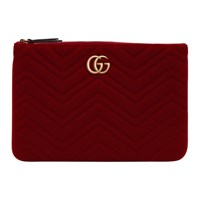 Gucci Red Velvet Gg Marmont 2.0 Pouch