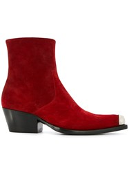Calvin Klein 205W39nyc Western Ankle Boots Red