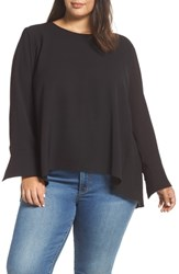 Everleigh Plus Size Pleat Back Top Black