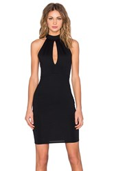 Donna Mizani Mock Neck Keyhole Mini Dress Black