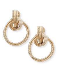 Anne Klein Textured Drop Hoop Earrings Gold