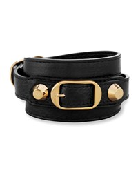 Balenciaga Classic Leather Wrap Bracelet Noir