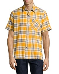 Ovadia And Sons Plaid Short Sleeve Camp Shirt Mustard
