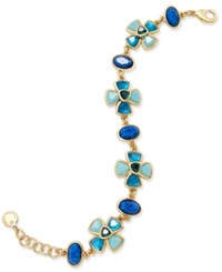 Charter Club Gold Tone Blue Crystal Floral Tennis Bracelet Only At Macy's