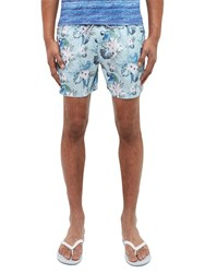 Ted Baker Highams Floral And Parrot Print Swim Shorts Light Blue