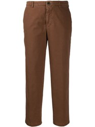 Berwich Cropped Slim Fit Trousers Brown