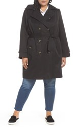 London Fog Plus Size Women's Hooded Double Breasted Trench Coat Black