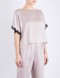 Nk Imode Lace Detailed Silk Satin T Shirt Sand