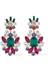 Dolce And Gabbana Gold Plated Crystal Clip Earrings Green