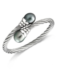 Macy's Pearl Bracelet Stainless Steel Tahitian Cultured Freshwater Pearl Wrap Bangle 10Mm