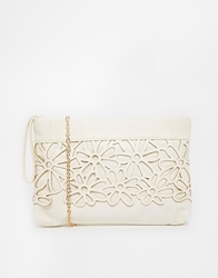 Liquorish Clutch Bag With Floral Cut Out Cream