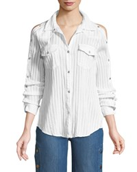 Bailey 44 Stampede Snap Up Long Sleeve Poplin Top White