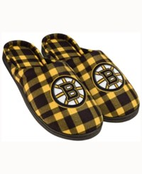 Forever Collectibles Boston Bruins Flannel Slide Slippers Black