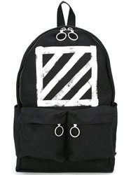 Off White Diagonal Stripe Print Backpack Black