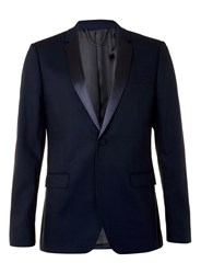 Topman Navy Skinny Fit Tux Jacket With Satin Lapel Blue