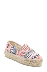 Manebi Women's Yucatan Platform Espadrille Slip On Red And Blue