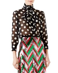 Gucci Grand Pois Printed Silk Charmeuse Blouse Black Ivory Black White