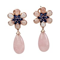 Bellus Domina Amare Flower Earrings Pink Purple