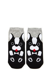 Forever 21 Dog Print Ankle Socks Grey Multi