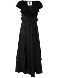Aganovich Belted Layered Dress Black