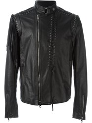 Diesel Black Gold Lace Up Detail Leather Jacket