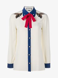 Gucci Bee Embroidered Silk Shirt White Multi Coloured Pearl Blue