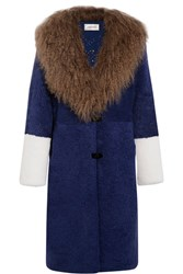 Saks Potts Febbe Color Block Shearling Coat Blue