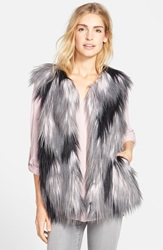 Steve Madden Patchwork Faux Fur Vest Black Grey