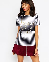 Asos Christmas Stripe T Shirt With Joyeux Noel Navywhite