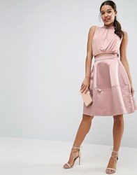 Asos Prom Skirt In Structured Satin With Seam Detail Dust Pink