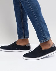 Tommy Hilfiger Iconic Slip On Canvas Plimsolls In Black