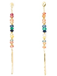 Natasha Collis Rainbow Sapphire Drop Rod Stud Earrings Metallic